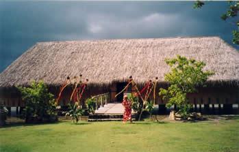 Fare Pote'e, the Meeting House, Maeva, Huahine.