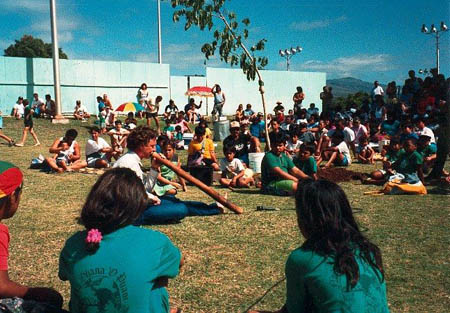 John Stokes playing the yirdaki for the Tree of Peace