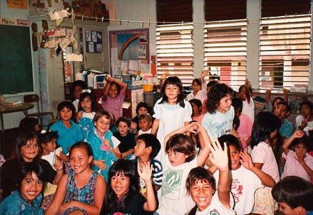 Students in the Hawaiian language immersion program, Keaukaha School 1991.