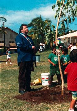 Jake and the monkeypod tree on Moloka'i, 1992.