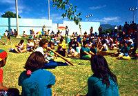 John Stokes plays a peace song on the yirdaki, Moloka'i 1992.