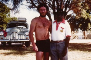 John Stokes with Uncle Jimmy in 1982 on a road trip in South Australia.