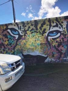 The onça mural in Uturoa, Raiatea